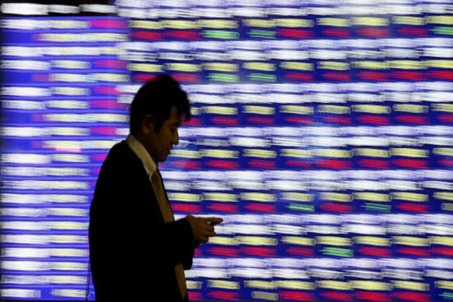 asian shares mixed before fed chair speech