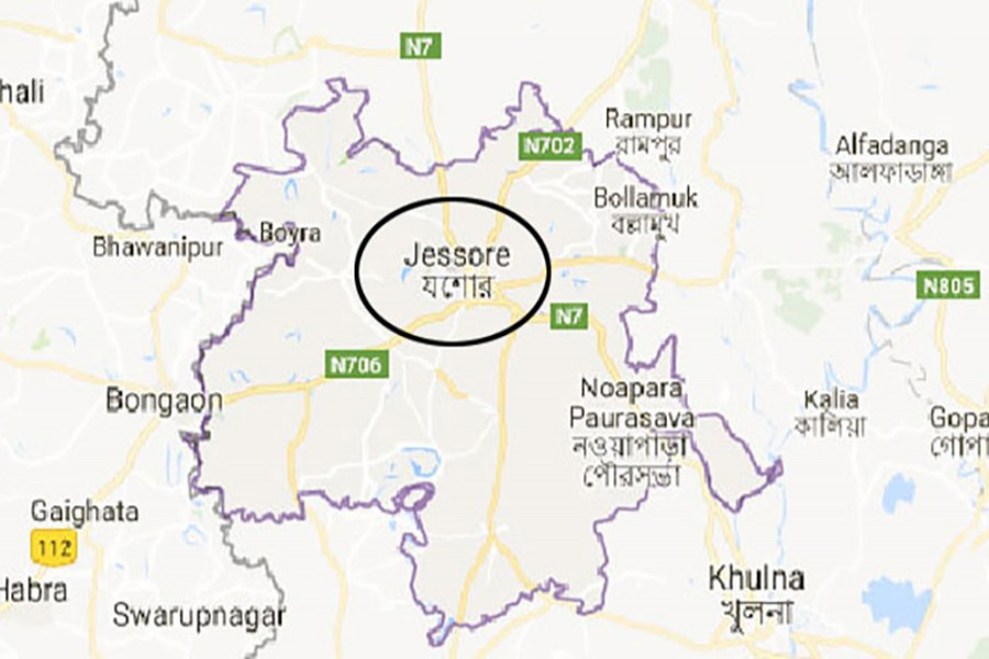 Google map showing Jessore district.