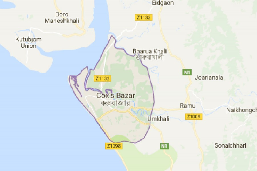 Google map showing Cox's Bazar district