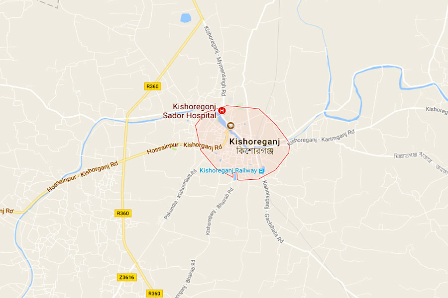 Google map showing Kishoreganj district