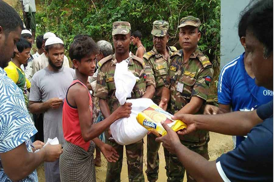 Army for distribution of relief and registration of Rohingyas