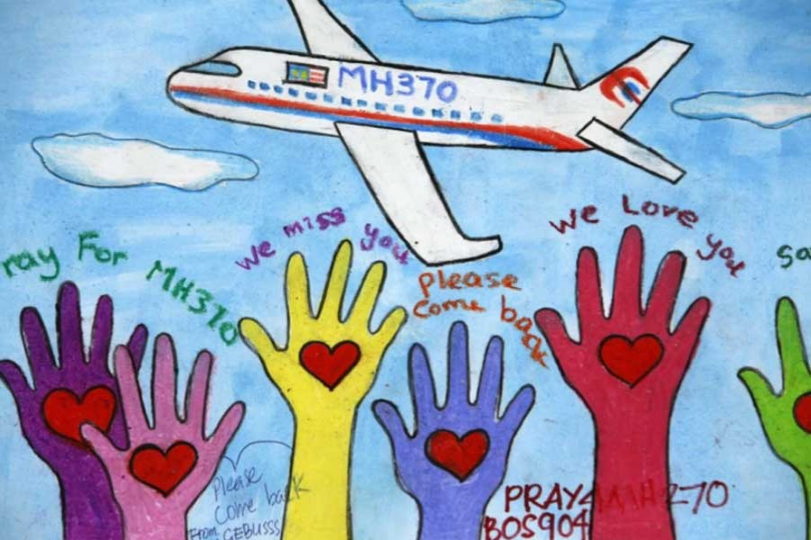 An artwork conveying well-wishes for the passengers and crew of the missing Malaysia Airlines Flight 370 at a gallery in Kuala Lumpur International Airport.  - Edgar Su/Reuters