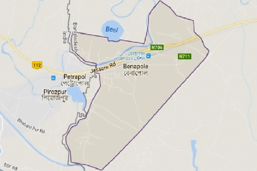 Google map showing Benapole area