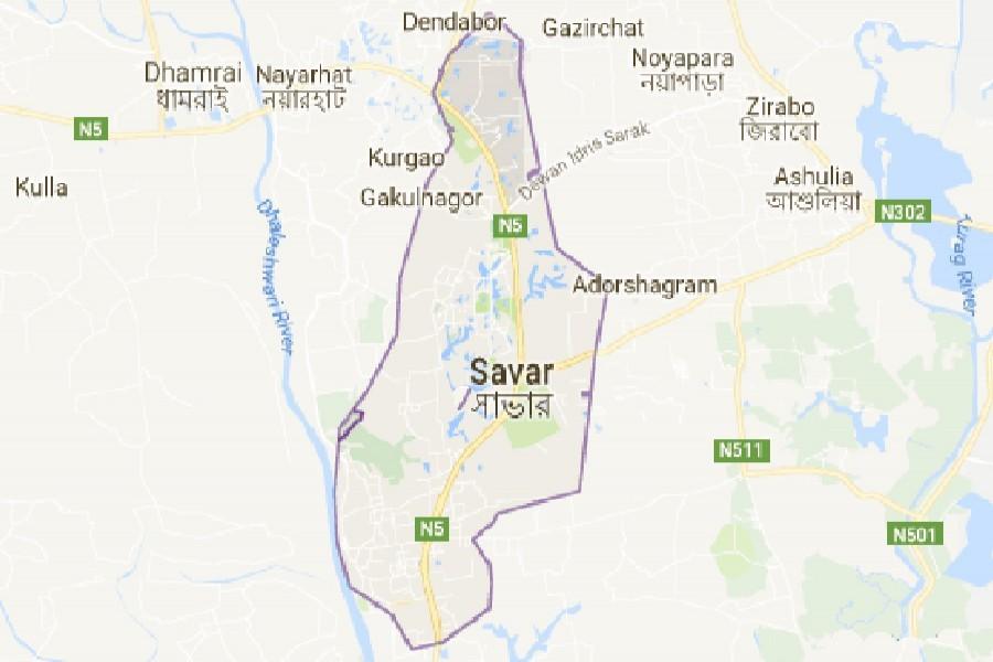 Google map showing Savar area of Dhaka district