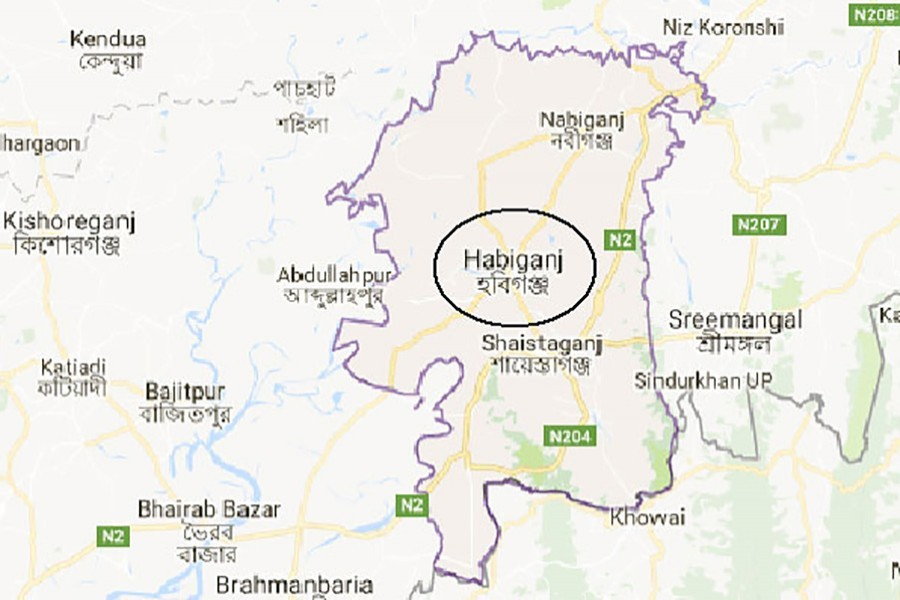 Google map showing Habiganj district