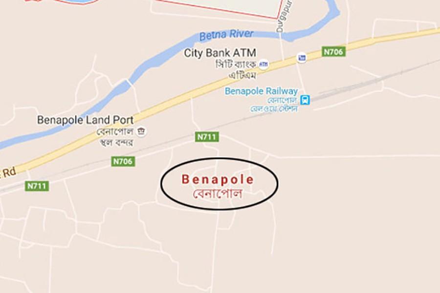 Google map showing Benapole area under Sharsha Upazila.