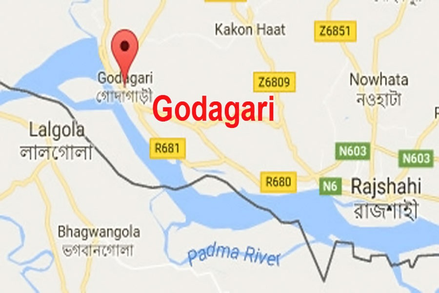 Google map showing Godagari upazila in Rajshahi