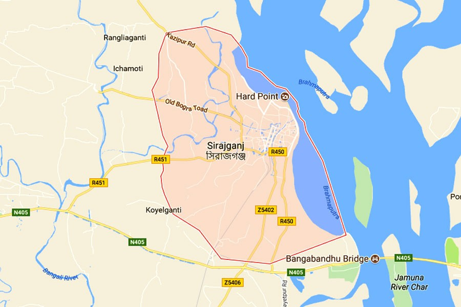 Google map showing Sirajganj district