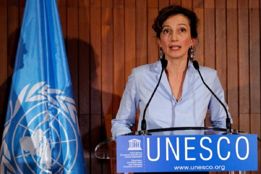 France's Audrey Azoulay speaks to the media at UNESCO headquarters in Paris, France, October 13, 2017. Reuters