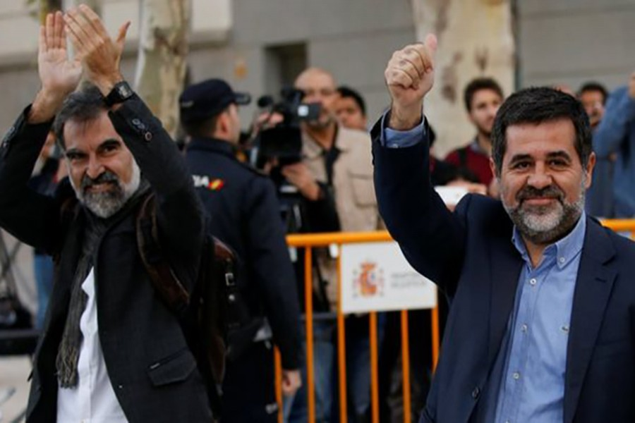 Jordi Cuixart (left) and Jordi Sánchez (right) faced a judge in Madrid on Monday. - Reuters photo