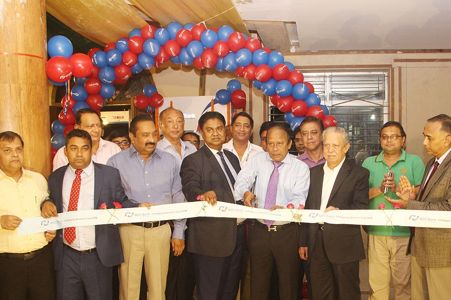 SM Abu Mohsin, Director & Chairman of the Executive Committee of NCC Bank, inaugurates the ATM booth at Chittagong Seniors' Club Limited.