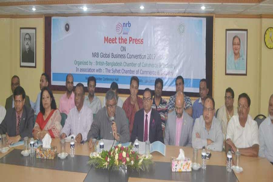 Sylhet Chamber of Commerce and Industry (SCCI) President Khandaker Shipar Ahmed presiding over an exchange of views meeting with the media in Sylhet city on Wednesday.