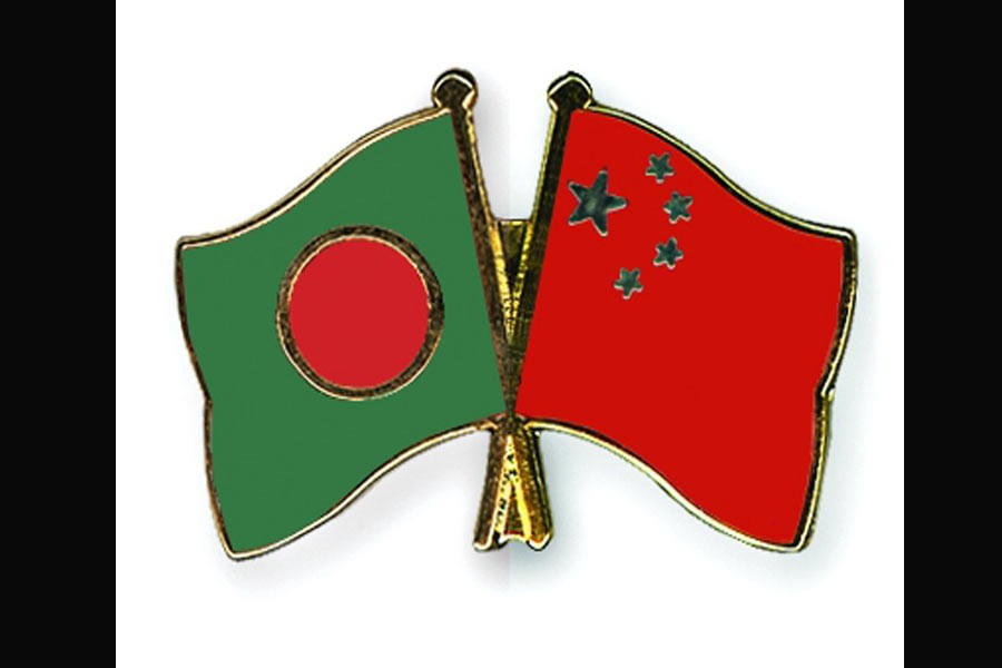 Bangladesh and China flags are seen cross-pinned displaying friendship between the two nations: Photo: Internet