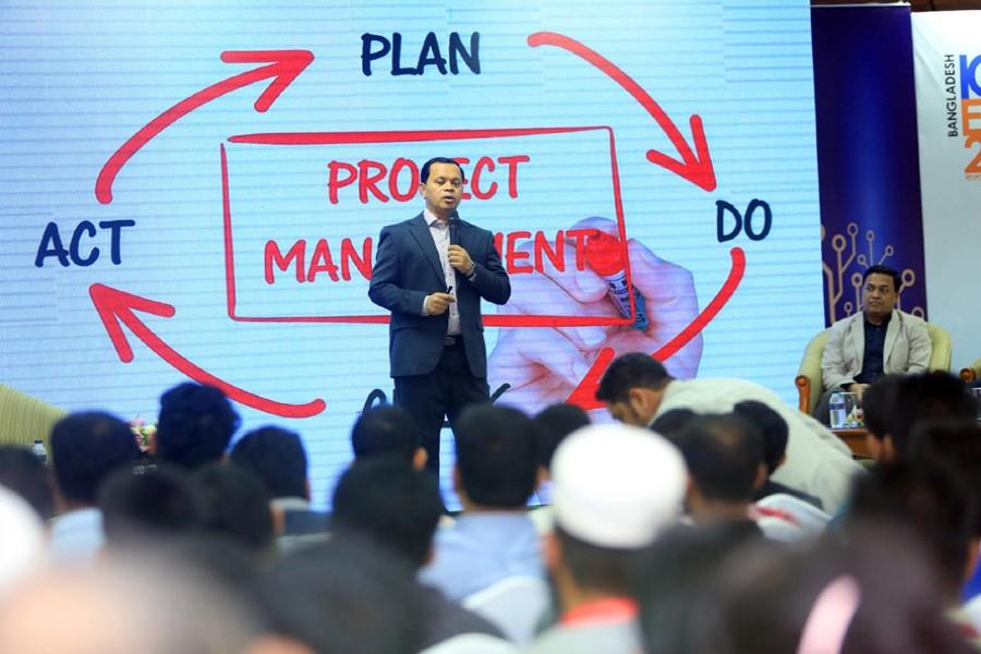 Daffodil Computers Ltd Chairman and WITSA Director Md Sabur Khan addressing a seminar on 'Employability Skills' in Dhaka on Thursday.