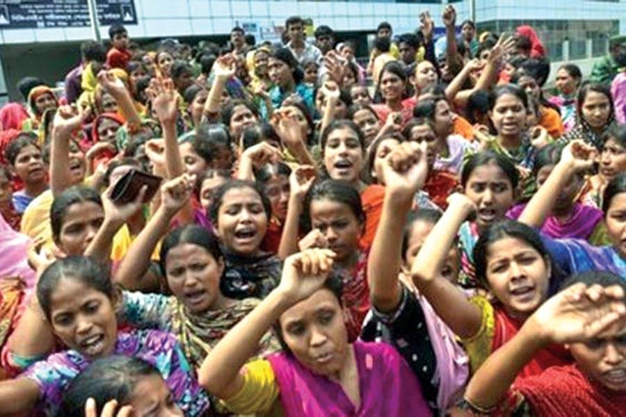 RMG workers protesting in Dhaka.