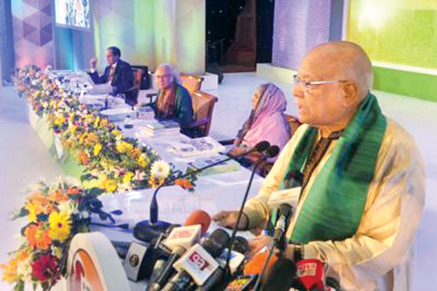 Finance Minister AMA Muhith inaugurated the six-day 'Development Fair' of Palli Karma Sahayak Foundation's (PKSF) in Dhaka Sunday. — BSS photo