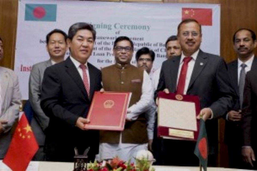 Economic Relations Division secretary Kazi Shafiqul Azam and Chinese Ambassador to Bangladesh Ma Mingqiang signed the agreement. (Photo- Collected)