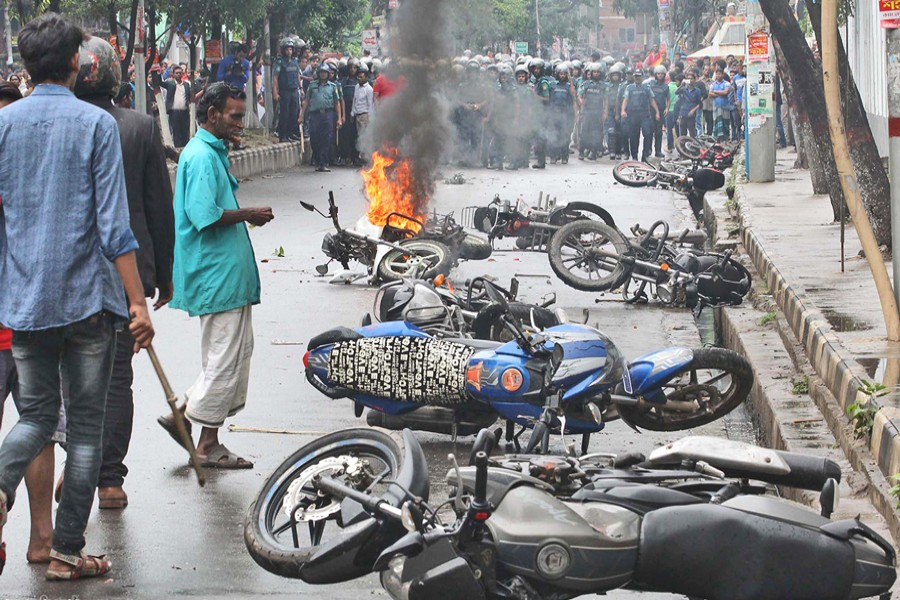 A number of motorcycles were torched during a clash between two groups of ruling party Awami League in front of a community centre at Azimpur in the capital on Thursday. The skirmish took place around 10:30am.	— Focus Bangla