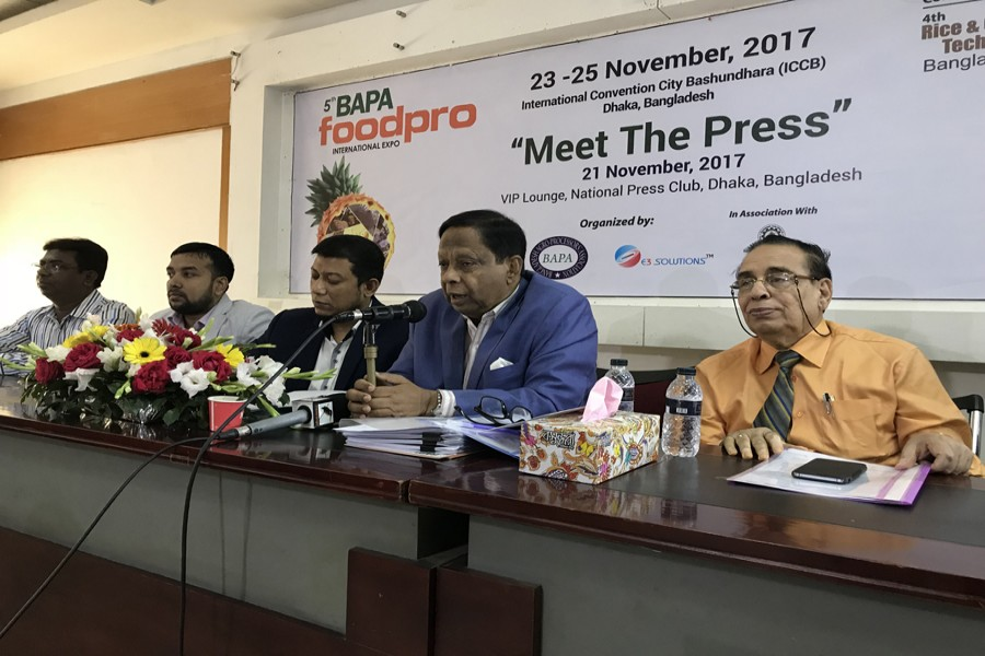 BAPA President AFM Fakhrul Islam Munshi, General Secretary Masoodur Rahman, BAMHMOA's first vice president Abu Yusuf Bachchu and Head of Marketing of Bombay Sweets & Co Ltd DD Ghosal are seen at the press conference. 	—  FE photo