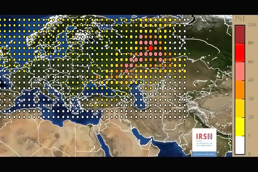 A map provided by the French Institute for Radiation Protection and Nuclear Safety showed levels of ruthenium 106 across Europe. (Credit: INRS, via Associated Press)