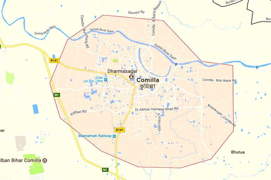Google map showing Comilla district