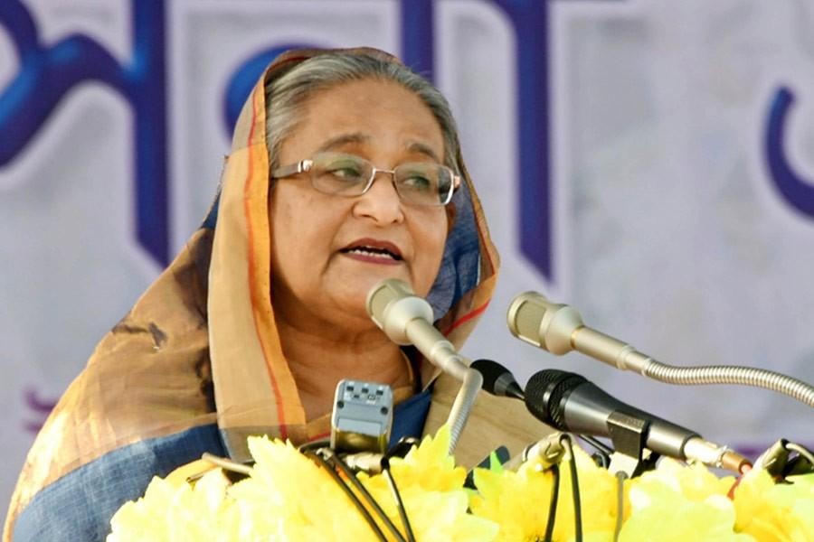 Prime Minister Sheikh Hasina speaks at a public rally at Jessore Eidgah Maidan on Sunday. -Focus Bangla Photo