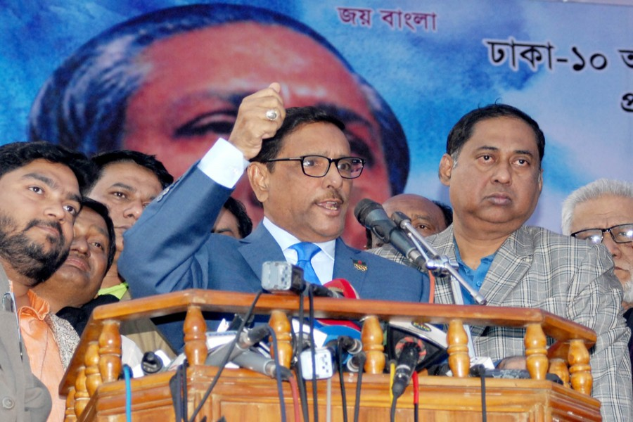 Awami League General Secretary Obaidul Quader speaking at the inaugural function of member collection and membership renewal programme of Awami League at the Bangabandhu Bhaban at Dhanmondi in the city on Monday.  — Focus Bangla