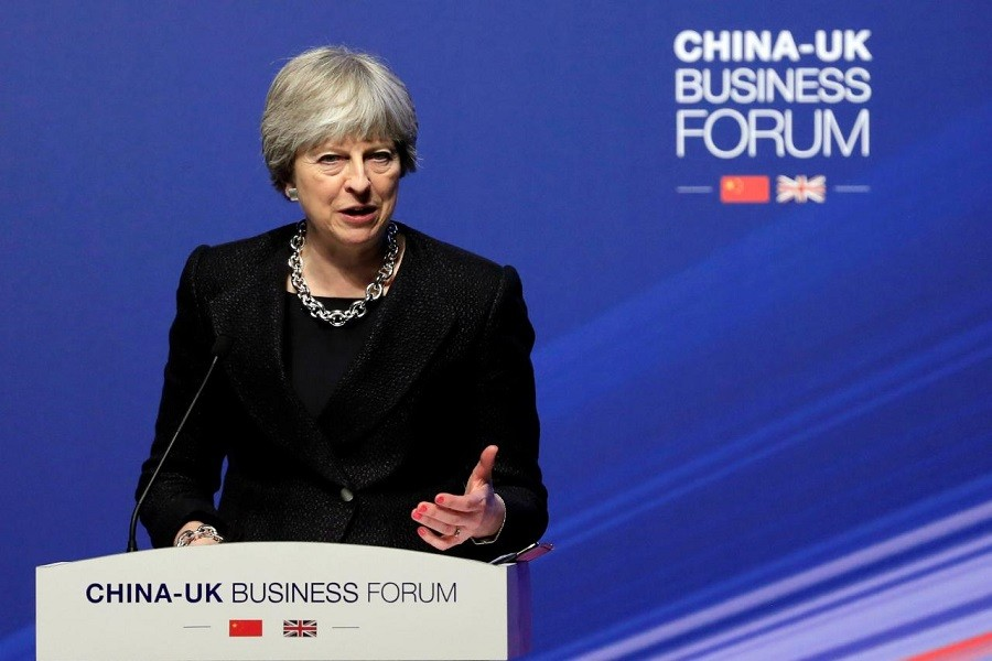 British Prime Minister Theresa May speaks at the China-UK business forum in Shanghai, China February 2, 2018. Reuters