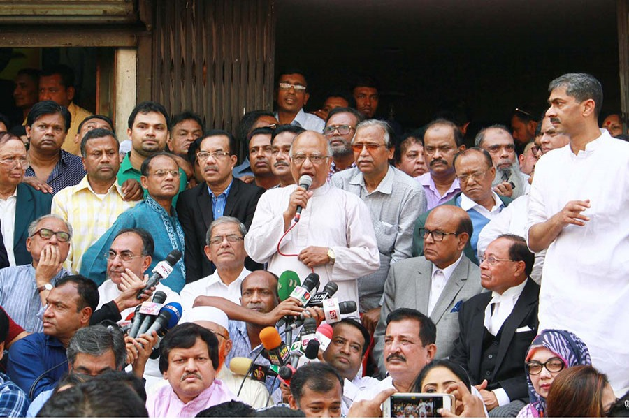 BNP senior leader Khandaker Mosharraf Hossain speaks at a sit-in programme in front of its Nayapaltan central office in Dhaka on Tuesday. - Focus Bangla photo
