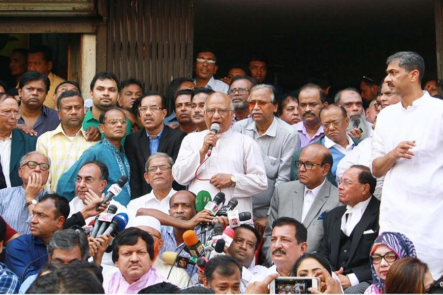 BNP's Khandaker Mosharraf Hossain speaks at a sit-in programme recently. - Focus Bangla file photo used for representation.