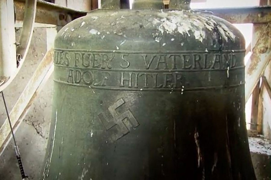A swastika on a bell in a church in the German town of Schweringen. YouTube photo.