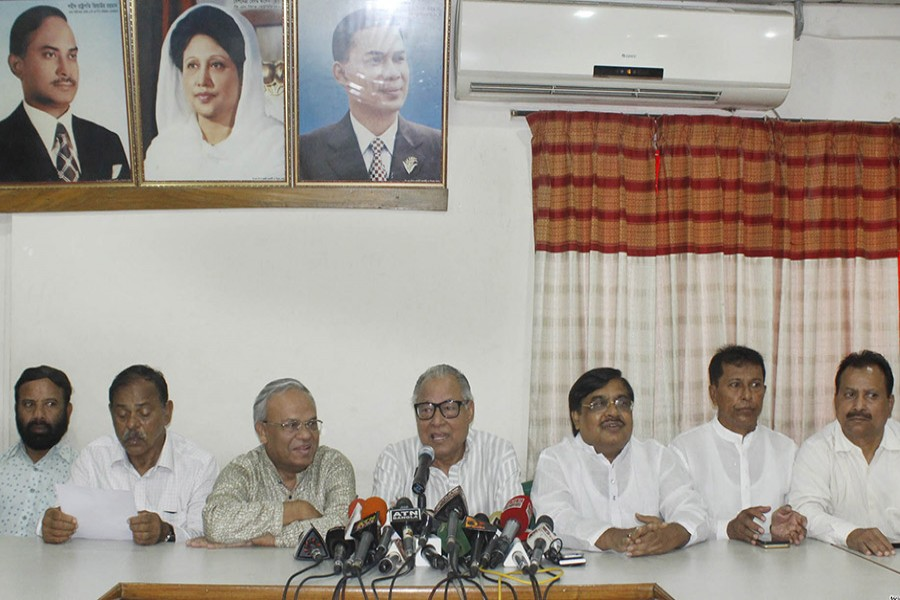 BNP standing committee member Nazrul Islam Khan adressing at press conference at the party's Nayapaltan central office