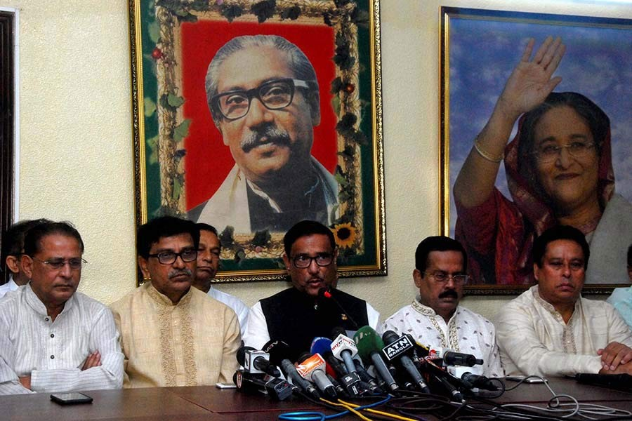Road Transport And Bridges Minister Obaidul Quader addressing addressing a press conference at AL chief's political office in Dhanmondi area of Dhaka on Friday. -Focus Bangla Photo