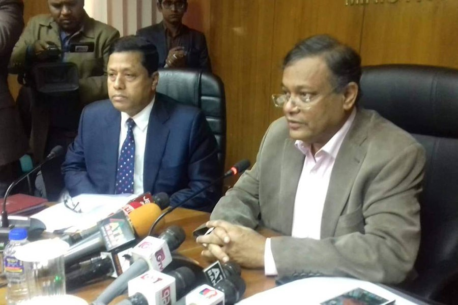 Information Minister Dr Hasan Mahmud talking to reporters at the Secretariat on Sunday. Photo: UNB