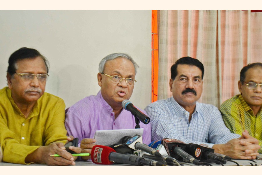 BNP senior joint secretary general Ruhul Kabir Rizvi speaking at a press conference at the party's Nayapaltan central office in the city on Thursday — Focus Bangla