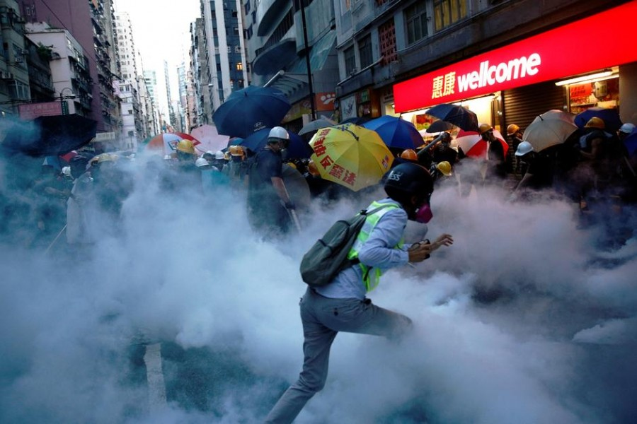 Demonstrators clash with police during a protest against police violence during previous marches, near China's Liaison Office, Hong Kong, China July 28, 2019. REUTERS/Edgar Su