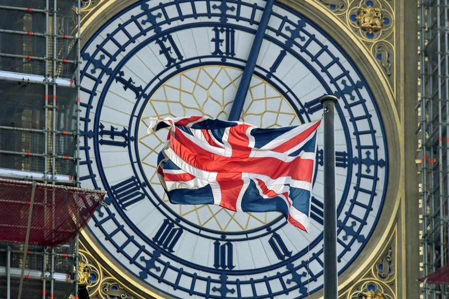 British Union Jack flag files in front of the clock face of Big Ben in London, Britain, August 29, 2019. Reuters/Files