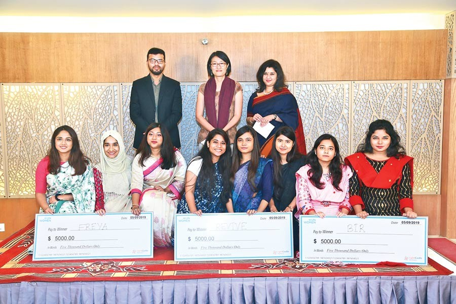 Winning teams with dignitaries of the `Innovators against Gender Based Violence (GBV) Competition'
