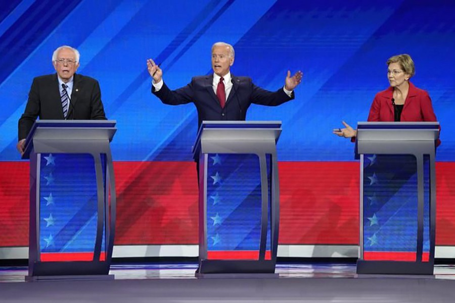 Senator Bernie Sanders, former Vice President Joe Biden, and Senator Elizabeth Warren debate during the 2020 Democratic US presidential debate in Houston, Texas, US on September 12, 2019 — Reuters photo