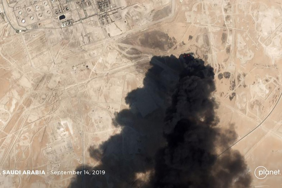 A satellite image shows an apparent drone strike on an Aramco oil facility in Abqaiq, Saudi Arabia on September 14, 2019. Planet Labs Inc/Handout via REUTERS