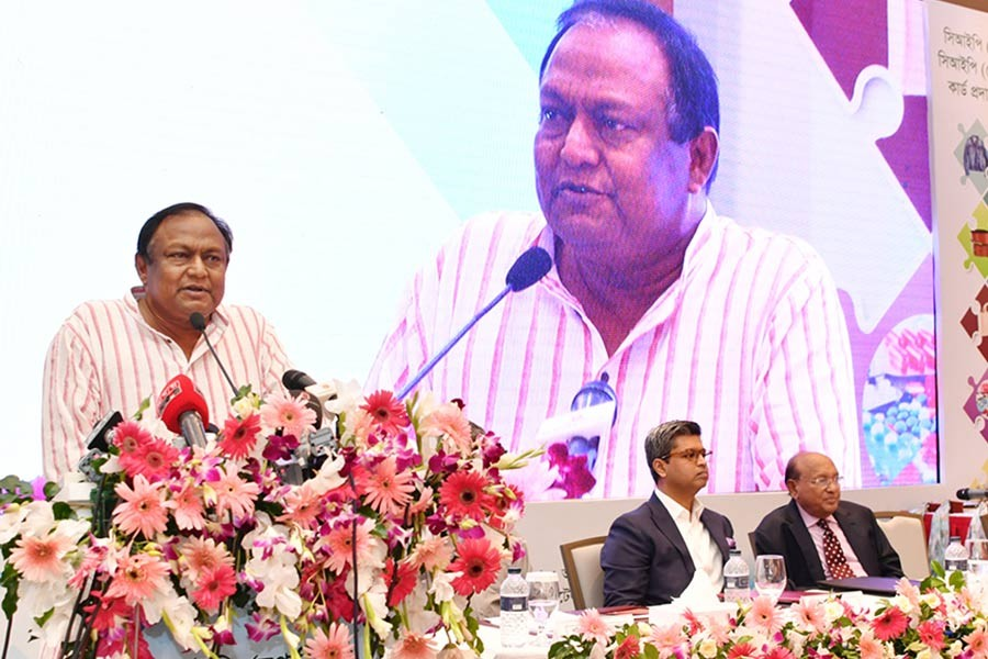 Commerce Minister Tipu Munshi addressing a function organised to hand over commercially important person (CIP) cards at the Hotel Intercontinental in the city on Wednesday. -PID Photo