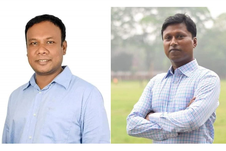A combination photo shows newly elected Jatiyatabadi Chhatra Dal president Fazlur Rahman Khokon and general secretary Iqbal Hossain Shyamol on the left and right respectively: Facebook