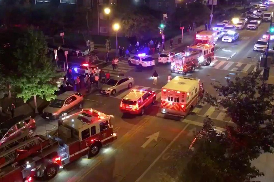 Rescue vehicles are seen following a shooting in Washington, DC, US on September 19, 2019, in this picture obtained from social media — via REUTERS