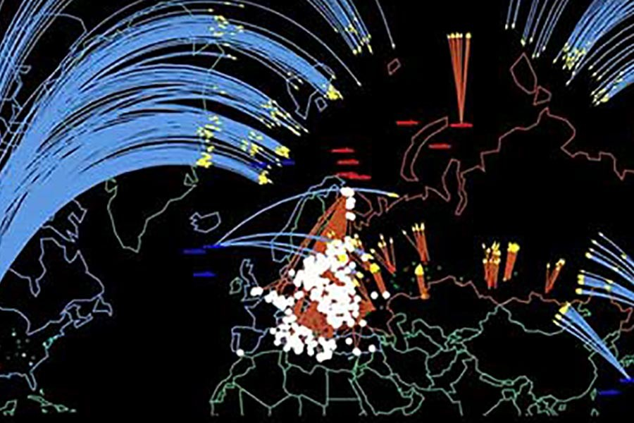 A new simulation depicts the consequences of a US-Russian nuclear exchange. — Credit: Program on Science and Global Security, Princeton University