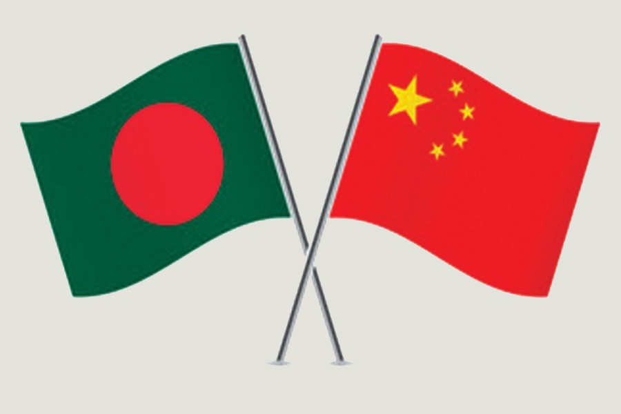 Flags of Bangladesh and China are seen cross-pinned in this photo symbolising friendship between the two nations