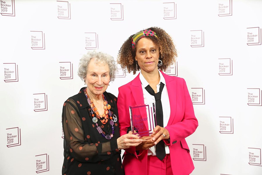 Margaret Atwood poses with Bernardine Evaristo with their Booker Prize for Fiction 2019 at the Guildhall in London, Britain on October 14, 2019 — Reuters photo