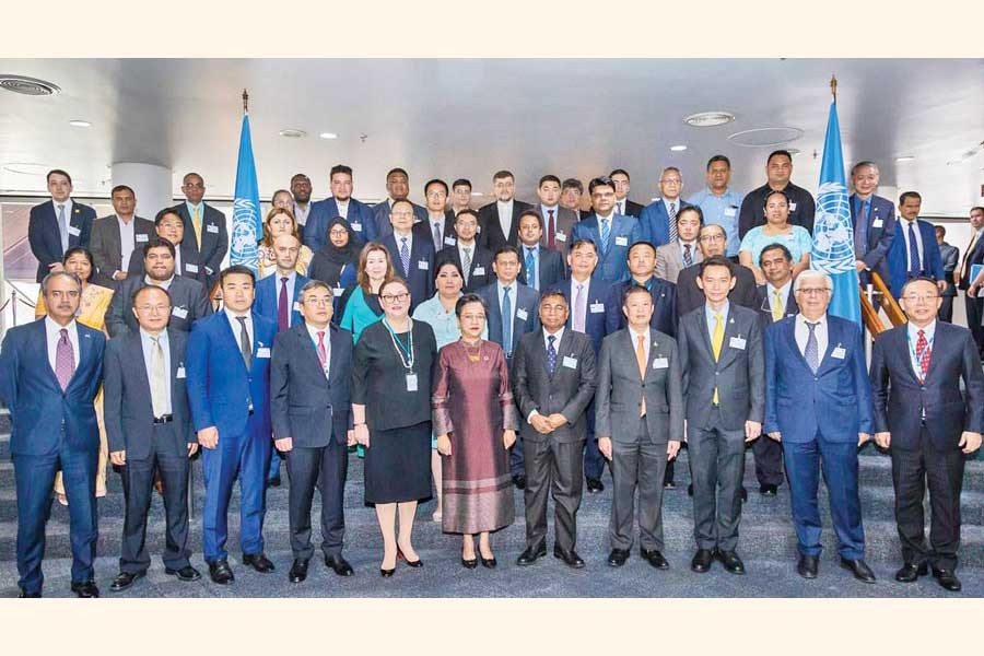 Director General of Power Cell Engr. Mohammad Hossain (5th from R, front row) posing with others at the second session of the UN-ESCAP Committee on Energy in Bangkok, Thailand recently