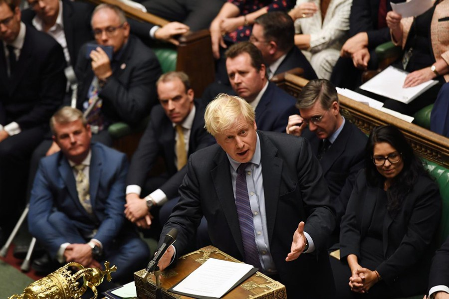 Britain's Prime Minister Boris Johnson is seen at the House of Commons in London, Britain on October 22, 2019 — UK Parliament/Jessica Taylor/Handout via REUTERS