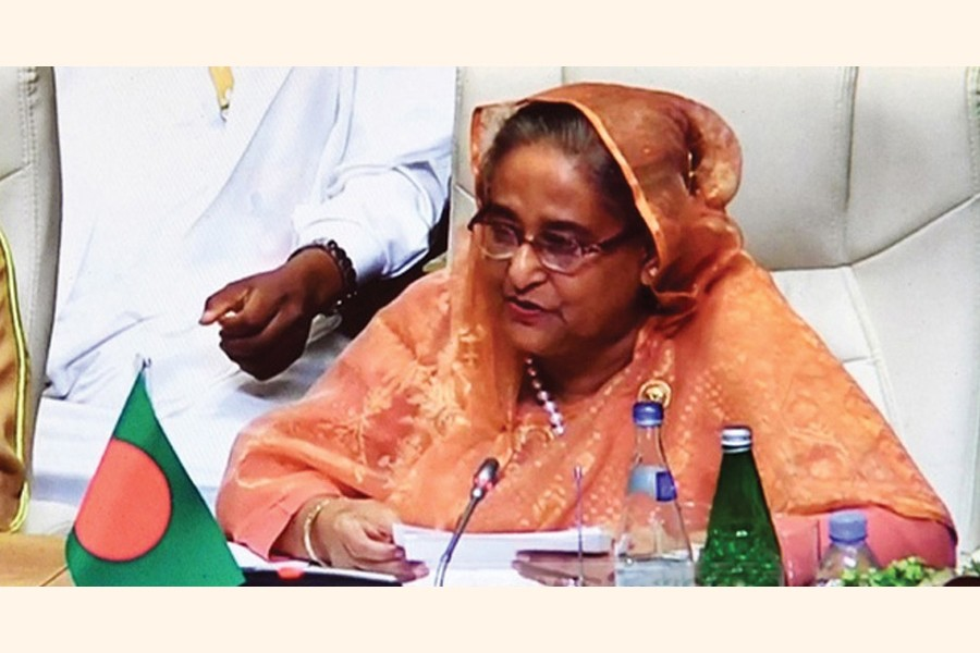 Prime Minister Sheikh Hasina addressing the plenary session of the  18th NAM Summit in the Azerbaijan capital Baku on October 25, 2019: She sought global support in resolving the protracted Rohingya refugee crisis and for combating the adverse impacts of climate change.         —Photo: bdnews24.com