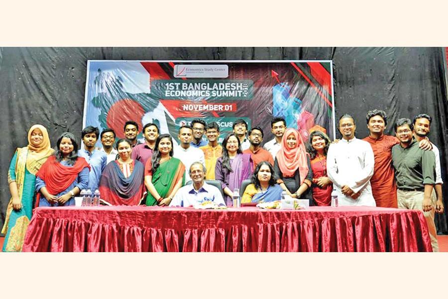 The organisers of the first Bangladesh Economics Summit held in 2018 along with the chief patron of the organisation Professor Shafique uz Zaman and  Professor Dr Sayema Haque Bidisha